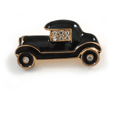 Small Vintage Retro Classic 1920's 30's Black Enamel Car Brooch In Gold Tone Metal - 30mm Across