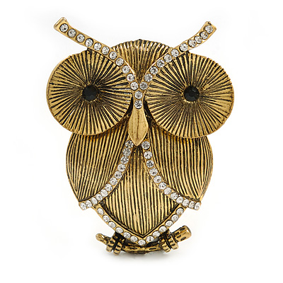 Vintage Inspired Crystal Textured Owl Brooch In Aged Gold Tone - 50mm Tall - main view