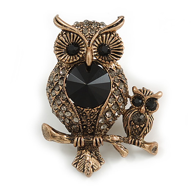 Vintage Inspired Mother and Baby Owl Crystal Brooch In Antique Gold Tone - 50mm Tall