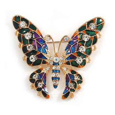 Multicoloured Enamel Crystal Butterfly Brooch In Gold Tone Metal - 55mm Across