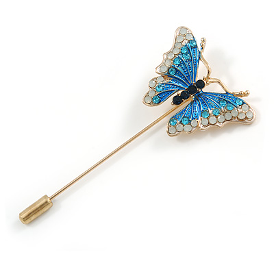 Gold Tone Blue/ Milky White Enamel Crystal Butterfly Lapel, Hat, Suit, Tuxedo, Collar, Scarf, Coat Stick Brooch Pin - 63mm Long