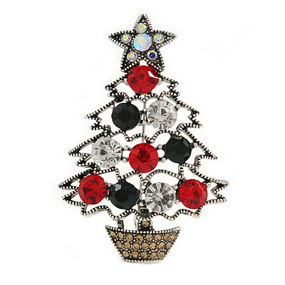 Vintage Inspired Crystal Christmas Tree in The Pot Brooch In Aged Silver Tone Metal - 55mm Tall