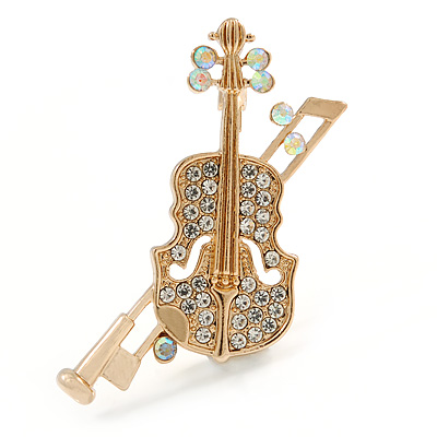 Clear Crystal Violin Musical Instrument Brooch In Gold Tone Metal - 45mm Tall
