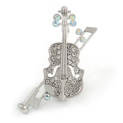 Clear Crystal Violin Musical Instrument Brooch In Silver Tone Metal - 45mm Tall