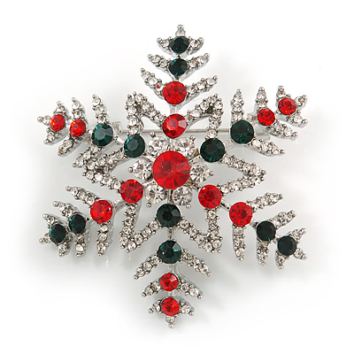 Christmas Crystal Snowflake Brooch In Silver Tone Metal (Red/ Green/ Clear) - 50mm Across