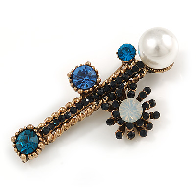 Vintage Inspired Crystal Pearl Fancy Brooch In Aged Gold Tone Metal (Blue/ Black/ White) - 65mm Across