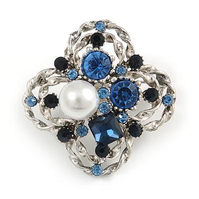 Vintage Inspired Crystal, Pearl Floral Brooch In Pewter Tone Metal - 45mm Diameter