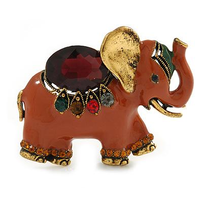 Vintage Inspired Brown Enamel, Crystal Elephant Brooch In Aged Gold Tone - 50mm Across