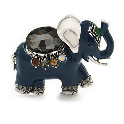 Vintage Inspired Blue Enamel, Crystal Elephant Brooch In Aged Silver Tone - 50mm Across