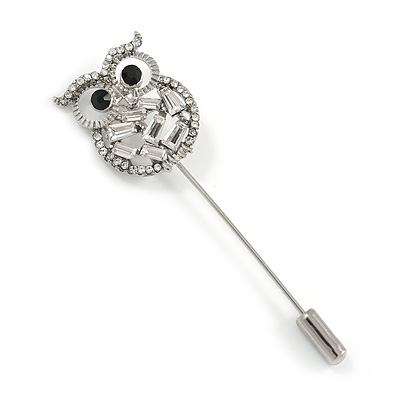 Silver Tone Clear Crystal Owl Lapel, Hat, Suit, Tuxedo, Collar, Scarf, Coat Stick Brooch Pin - 65mm L
