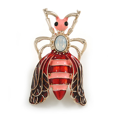 Funky Red/ Pink Enamel Moth Brooch In Gold Tone - 50mm Tall