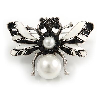 Striking Enamel Crystal, Pearl Bead Bumble Bee Brooch In Silver Tone Metal (Black/ White) - 55mm Across - main view