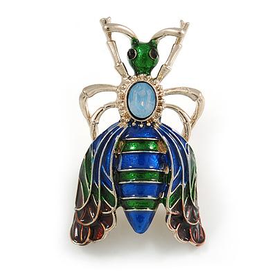 Funky Green/ Blue Enamel Moth Brooch In Gold Tone - 50mm Tall
