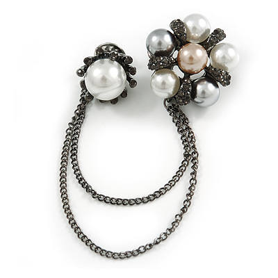 Statement Pearl Crystal Double Flower Chain Brooch In Gun Metal Finish
