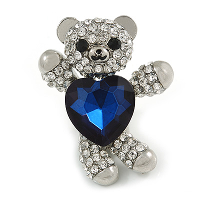 Little Teddy Bear Crystal Brooch In Silver Tone (Clear/ Dark Blue) - 40mm Tall