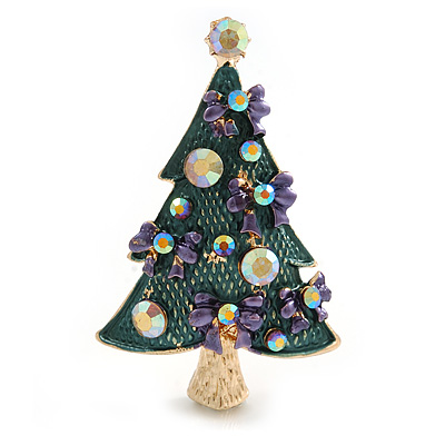 Green Enamel Crystal Christmas Tree with Purple Bows In Gold Tone Metal - 52mm Tall