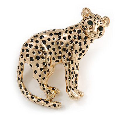 Unique Leopard Brooch In Gold Tone Metal with Black Spots - 42mm Across