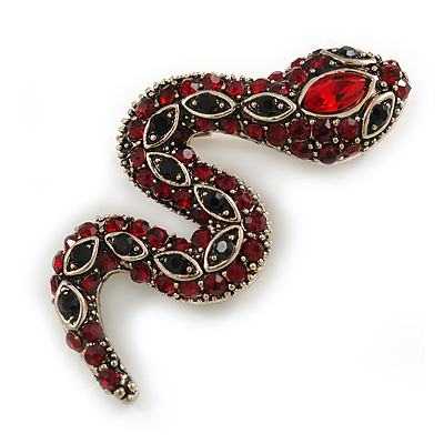 Small Red/ Black Crystal Snake Brooch In Aged Gold Tone Metal - 40mm Long