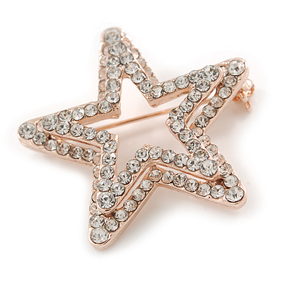 f22ca521374 Rose Gold Tone Clear Austrian Crystal Open Layered Star Brooch - 40mm Across