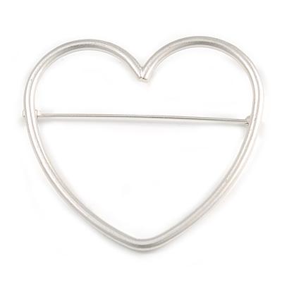 Large Matt Silver Tone Open Cut Heart Brooch - 65mm Wide