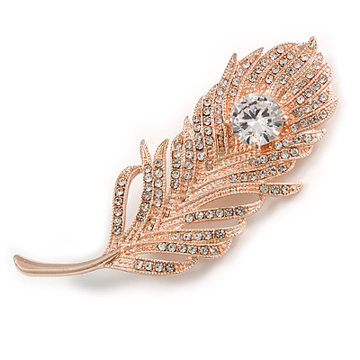 CZ/ Clear Austrian Crystal Peacock Feather Brooch In Rose Gold Tone Metal - 7cm Long