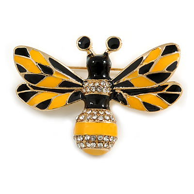 Avalaya Bee and Flower Chain Brooch in Gold Tone Finish