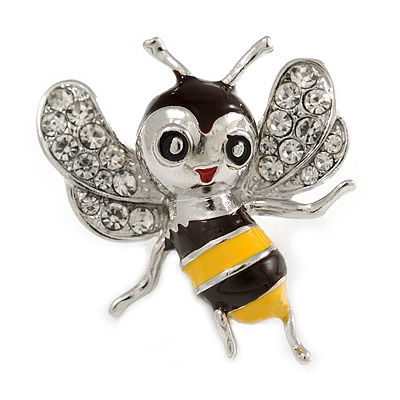 Cute Crystal Enamel Baby Bee Brooch In Silver Tone Metal (Black/ Yellow) - 40mm Tall - main view