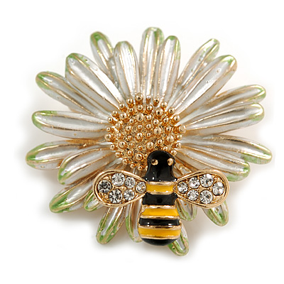 Crystal Bee and Flower Brooch In Gold Tone (Black/ Yellow/ White) - 35mm Diameter - main view