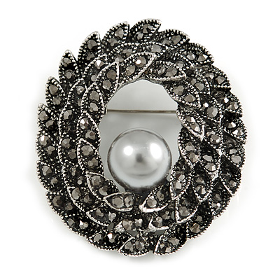 Vintage Inspired Open Oval Hematite Crystal with Pearl Bead Brooch In Aged Silver Tone - 45mm Long