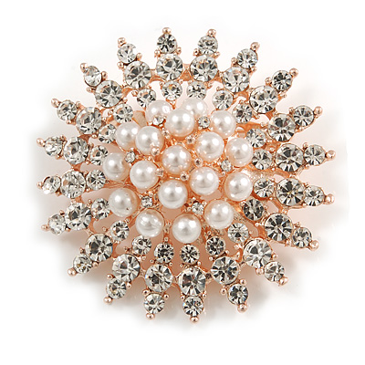 Bridal/ Prom/ Wedding Faux Pearl Crystal Corsage Brooch In Rose Gold Tone - 50mm D