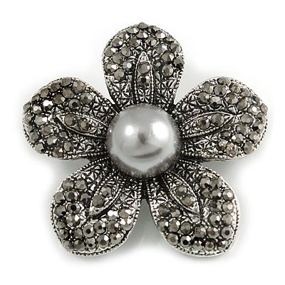 Stunning Hematite Crystal Grey Bead Flower Brooch In Aged Silver Tone Metal - 45mm Diameter