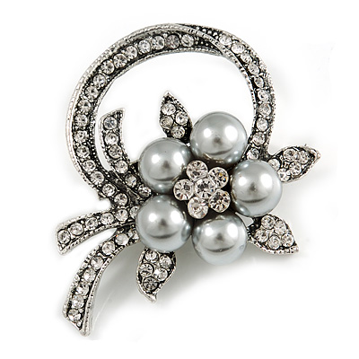 Vintage Inspired Floral Crystal Brooch In Aged Silver Tone (Grey/ Clear) - 50mm Across
