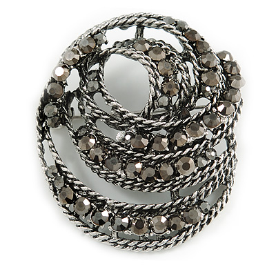 Vintage Inspired Hematite Crystal Twirl Oval Brooch In Aged Silver Tone - 50mm Long