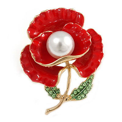 Bright Red Enamel, Faux Pearl, Green Crystal Poppy Brooch In Gold Tone - 45mm Long - main view