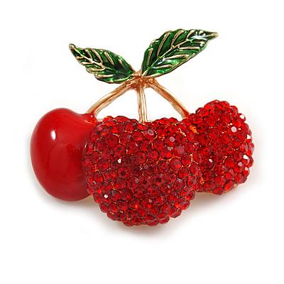 Red Crystal, Enamel Cherry Brooch In Gold Tone - 40mm Across