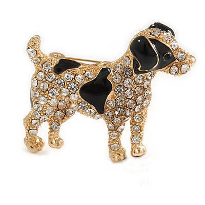 Clear Crystal with Black Enamel Spots Jack Russell Terrier Dog Brooch In Gold Tone Metal - 40mm Across