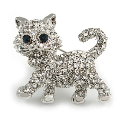 Cute Clear Crystal Kitty/ Kitten/ Cat Brooch In Silver Tone Metal - 33mm Across