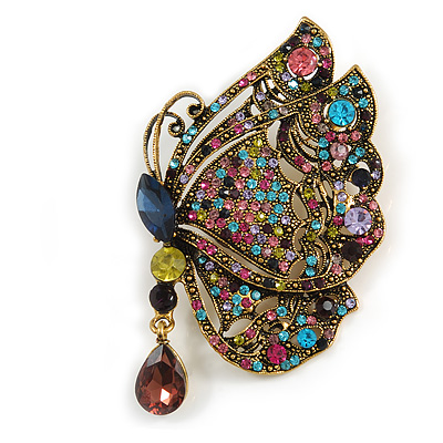 Large Vintage Inspired Multicoloured Crystal Butterfly Brooch In Aged Gold Tone Metal - 85mm Tall