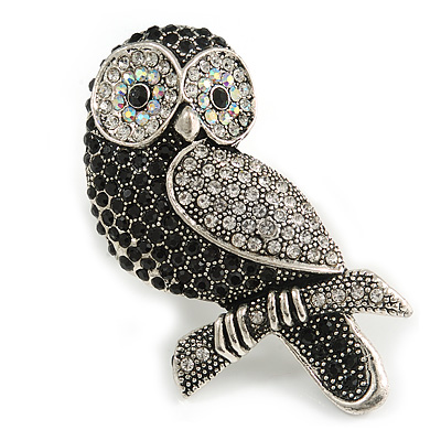 Vintage Inspired Black/ Clear/ Ab Crystal Owl Brooch In Aged Silver Tone - 70mm Long - main view