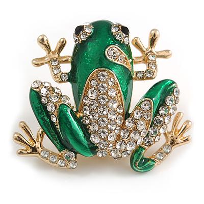 Funky Green Enamel Clear Crystal Frog Brooch In Gold Tone - 35mm Wide