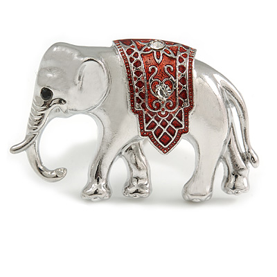 Small Adorable Elephant Brooch In Silver Tone Metal - 40mm Across