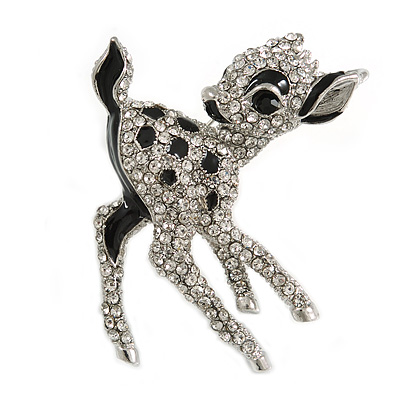 Cute Crystal Baby Fawn/ Young Deer Brooch/ Pendant In Silver Tone Metal - 48mm Tall - main view