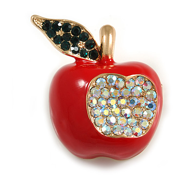 Red Enamel, AB/ Dark Green Crystal Apple Brooch In Gold Tone Metal - 30mm Tall