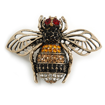 Vintage Inspired Crystal Bee Brooch In Gold Tone - 50mm Across