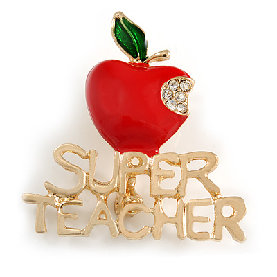Gold Tone Red/ Green Enamel Crystal Apple 'SUPER TEACHER' Brooch - 40mm Across