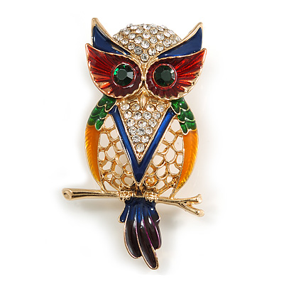 Multicoloured Crystal Owl Brooch In Gold Tone Metal - 50mm Long