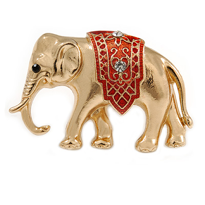 Small Adorable Elephant Brooch In Gold Tone Metal - 40mm Across