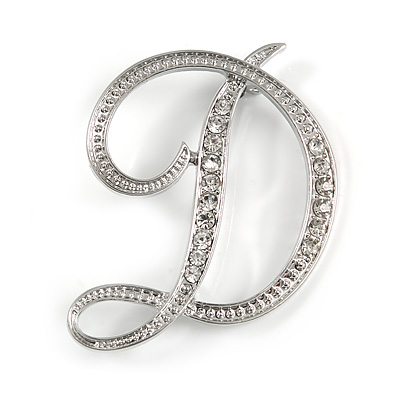 'D' Rhodium Plated Clear Crystal Letter D Alphabet Initial Brooch Personalised Jewellery Gift - 45mm Tall