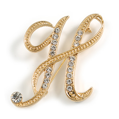 'H' Gold Plated Clear Crystal Letter H Alphabet Initial Brooch Personalised Jewellery Gift - 43mm Tall