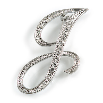 'J' Rhodium Plated Clear Crystal Letter J Alphabet Initial Brooch Personalised Jewellery Gift - 45mm Tall